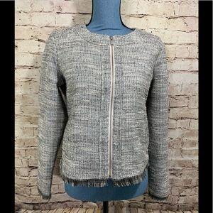 Banana Republic Knit Blazer Size 8 Gray Black